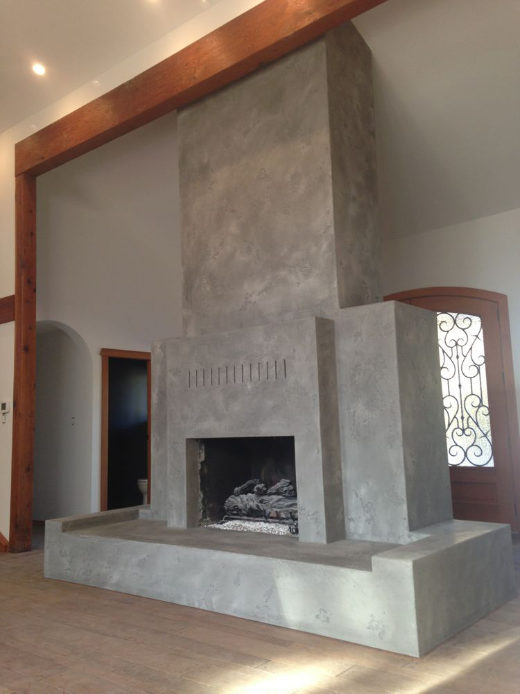 Fireplace Design plaster fireplace : Tadelakt Plaster Fireplace in Grey Cement ColorDecorative Painting ...